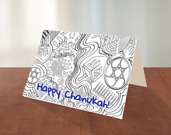 Printable Chanukah Coloring Card