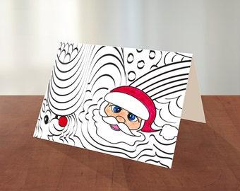 Printable Santa Christmas Coloring Card