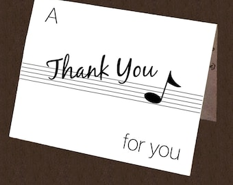 """Musical Thank You """"Note"""" Card - Printable"""