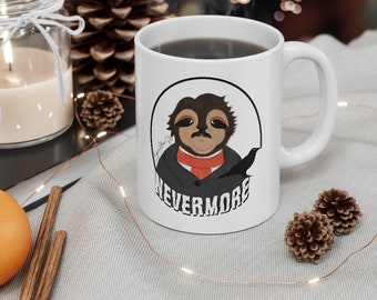 Edgar Allan Slo Spooky Sloth - Ceramic Mug 11oz