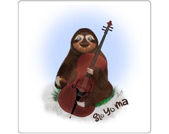 Slo Yo Ma - Cello Sloth Square Stickers