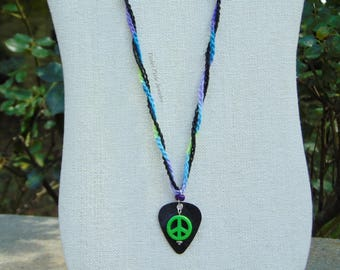 Guitar pick necklace/ guitar pick jewelry/ tie dye necklace/ crochet necklace/ peace sign/ peace sign necklace/ hippie necklace/ music