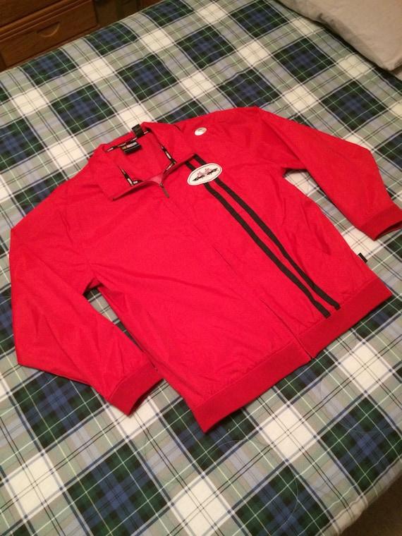 Vintage 1980's NASCAR racing jacket Full Zip red j