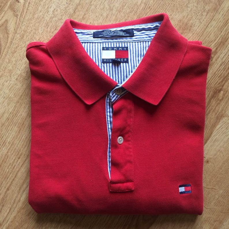 1ab21ea94021b Vintage Tommy Hilfiger red 2 front button up polo golf short
