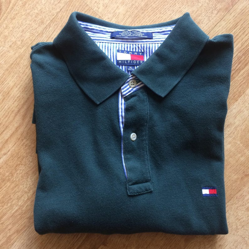 3e018f0b63ccd Vintage Tommy Hilfiger green 2 front button up polo  golf