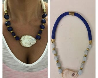 Oyster shell and Nautical Rope necklace