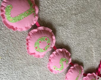 Personalised bunting with fabric detail
