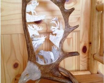 moose antler carving etsy