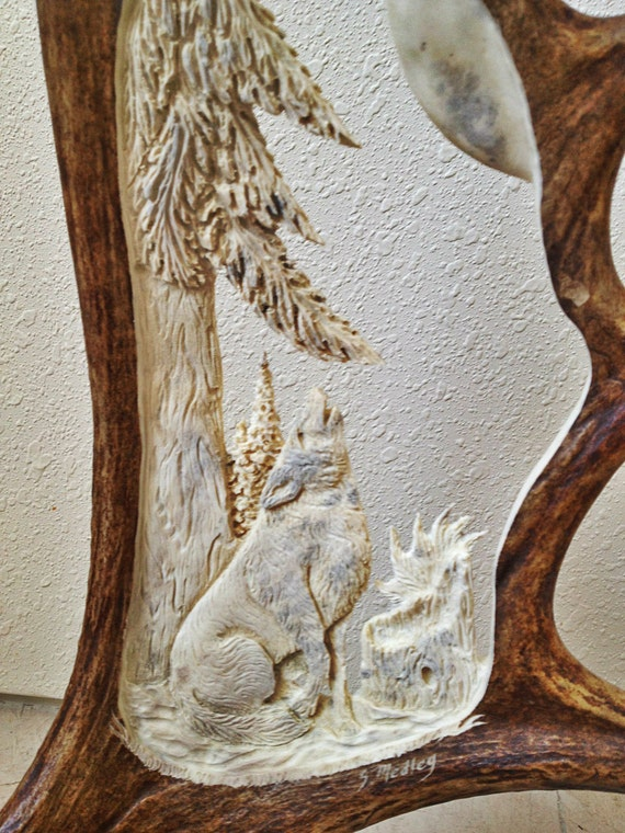 Wolf Antler Carving Decor Rustic, Wolf Rustic Furniture