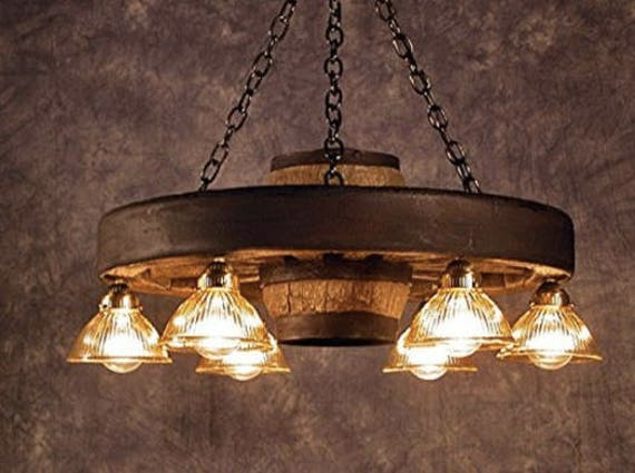 Wagon Wheel Rustic Chandelier Western Decor Pendant Light