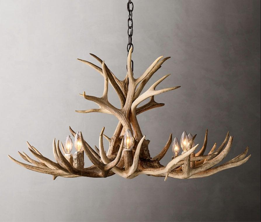 Real Deer Antler Chandelier Ceiling Light Rustic Lights Kitchen Island Pendant Light Shabby Chic Light Whitefish 4 - 12 Lights