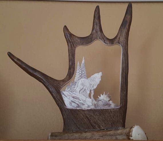 Wolf Antler Carving Art Decor, Wolf Rustic Furniture