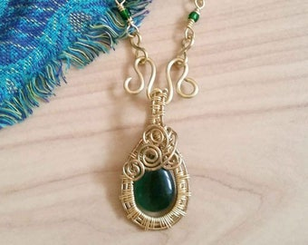 Gold and Green Wire Wrapped Necklace