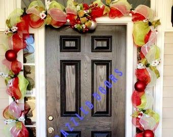Christmas Door Garland. Mesh Door Garland. Christmas Door Wreath. Holiday Door Decor. Door Garland. Porch Decor. Christmas Decor.
