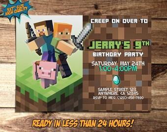 Mine Theme Pixel Invitation, Game Kid Birthday Invitation, Blocks Printable Game Custom Kid Party Invitation, Kid Birthday Card N79