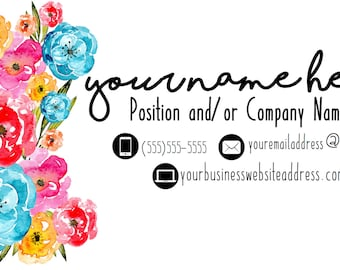 Bright Floral Customized Business Card