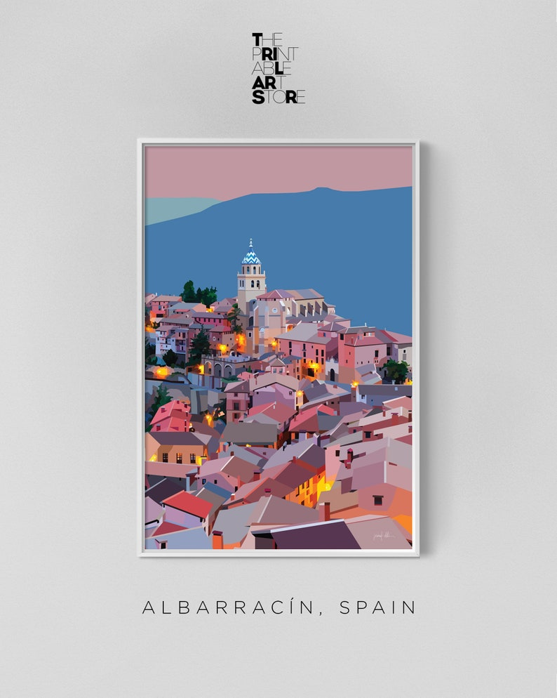 Printable wall art Albarracin Spain decor for bedroom art image 1