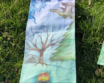 Dragon Flight Wall Banner/Growth Chart Handpainted and Hand Dyed