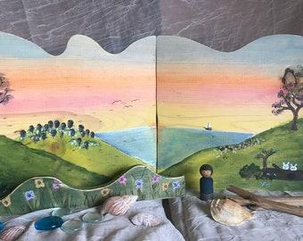Original Handpainted Wooden Story Scene-Hinged Backdrop Art- Waldorf, Montessori, Reggio, Homeschool Spring Sunrise landscape seashore beach