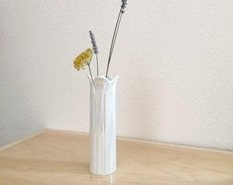 Vintage White Iridescent Ceramic Tall Flower Vase : Decorative Small Desk / Table  Vase