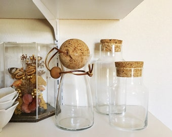 Vintage Glass Apothecary Cylinder Jar with Cork Lid