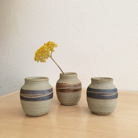 Vintage Clay Ceramic Bud Vase Set Of 3 Decorative Miniature Etsy