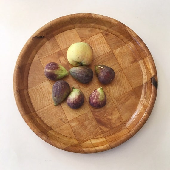 Jahrgang Gewebt Holz Runde Servierplatte Holz Getränk Tablett Etsy