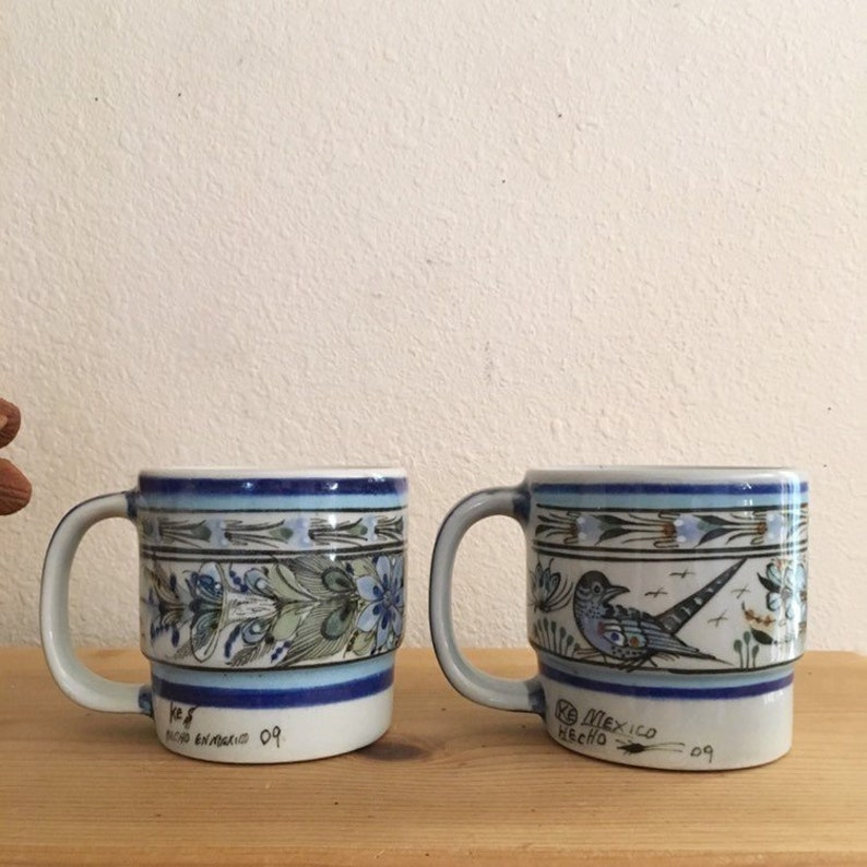 8e37e41ebb6 Vintage Tonala Ceramic Coffee Mugs Set of 2 : Mexican Pottery mugs