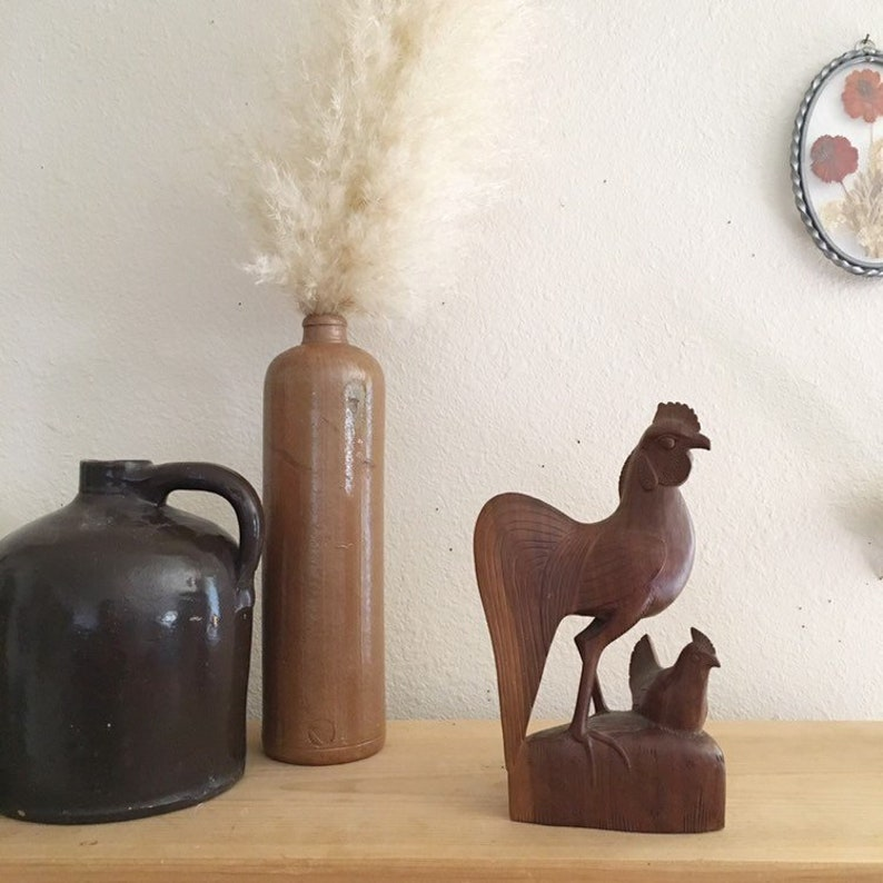 Farm Style Kitchen Decor Vintage Wood Rooster and Chicken Statue