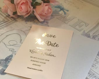 Save the Date - Wedding Cards in Rose Gold Foil & Blush Pearlescent Card