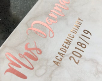 Personalised teacher gift academic diary specifically for teachers - Marble/ Geometric Effect - Cream/ Gold/ Rose Gold/ Mint