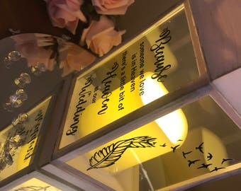 Rustic Wedding Memorial - LED Lantern/ Candle - White/ Cream