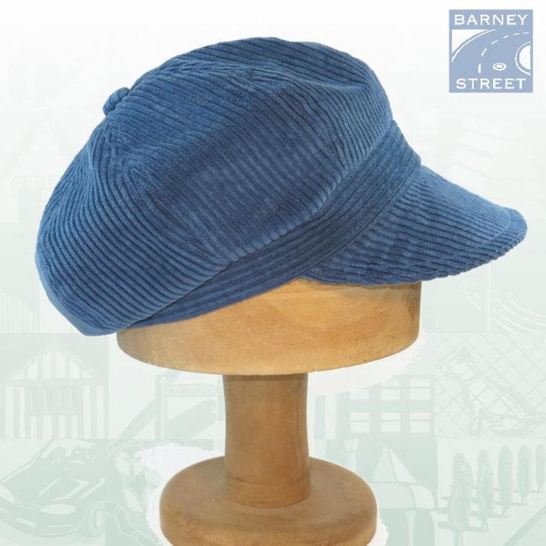e705ac24ac9 Slouchy newsboy cap blue corduroy adjustable size