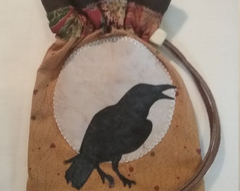 Crow moon drawstring bag, handmade