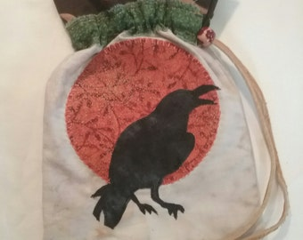 Crow moon drawstring bag