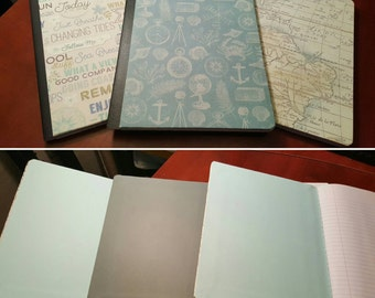 Altered Composition Notebooks, Hardcover Notebook, College Ruled Notebooks, Ocean Theme Journal