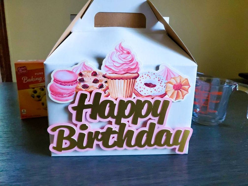 Large Gable Box Happy Birthday Large Boxes Treat Box Gable Box Baker/'s Box 8X4.75X5.25 inches