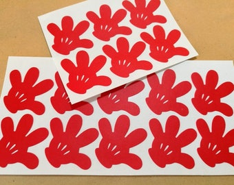20 Mickey Glove Stickers - Mickey Party Sticker - Mouse Wall Decal - Kids Playroom - Disney Birthday - Mickey Hand Seals - Mickey Labels