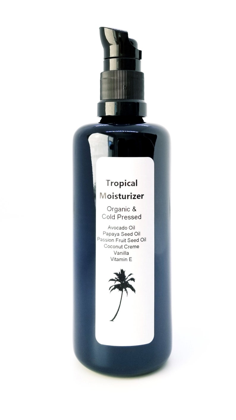 Organic Tropical Body Oil moisturizer 100ml in Miron Glass with Gel Pump  Skin Protector Hydration Healthy Skin Organic Skincare cold pressed