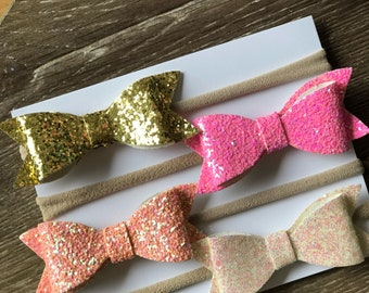 Baby Bow Headbands Glitter 4 pack