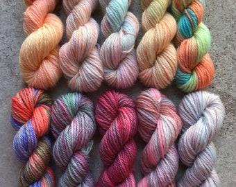 Hand Dyed Sock Yarn Mini Skein Set #175 -- 10 Mini Skeins/25 Yards Each