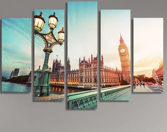 LARGE XL Big Ben from Westminster Bridge, London, the UK at Sunset Canvas Print Wall Art Print Home Decoration - Framed and Stretched - 1104