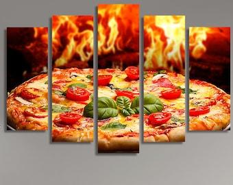 Restaurant Wall Art, Italian Food, Food Photography, Pizza, Kitchen Décor, Canvas Art, Canvas Print, Restaurant, Stretched Canvas