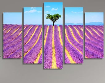 LARGE XL Lavender Flowers Blooming Field Canvas Print a Lonely Tree Uphill Canvas Provence France Wall Art Print Home Decoration - Stretched