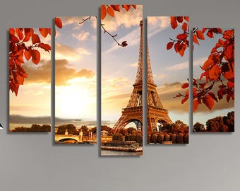 LARGE XL Eiffel Tower, Paris Canvas Print France, Europe in the Autumn Canvas Red Leaves Canvas Wall Art Print Home Decoration - Stretched