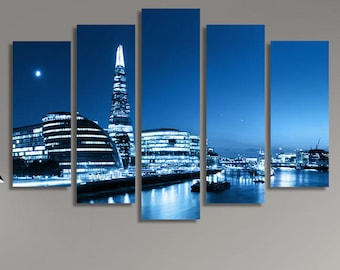 LARGE XL London Skyline Panorama at Night in Blue Canvas Wall Art Print Home Decoration - Framed and Stretched - 1135