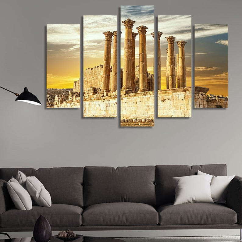 Echo 7p Yellow Large wall art canvas print artwork framed home living room