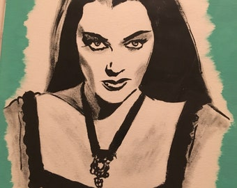 Lily Munster 9inx12in Painting