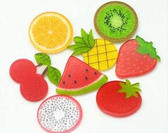 Bow center 5pc Fruit Cuties resin planar flatback Watermellon and Pineapple