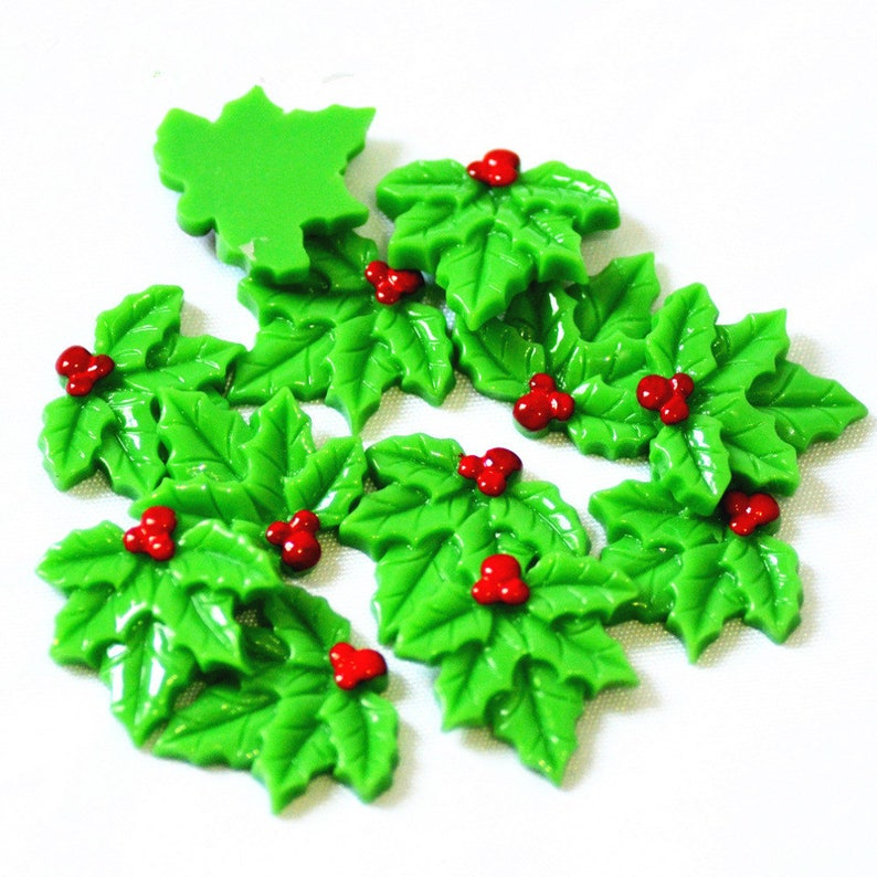 20pcs Green Holly Leaves Xmas Embellishments Scrapbooking Card Decoration Crafts